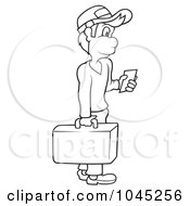 Royalty Free RF Clip Art Illustration Of A Black And White Outline Of A Traveling Man