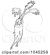 Royalty Free RF Clip Art Illustration Of A Black And White Outline Of A Happy Carrot