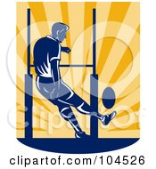 Rugby Football Player Kicking Over Sun Rays