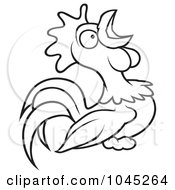 Black And White Outline Of A Crowing Rooster