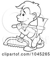 Royalty Free RF Clip Art Illustration Of A Black And White Outline Of A Carpenter