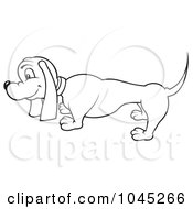 Royalty Free RF Clip Art Illustration Of A Black And White Outline Of A Wiener Dog