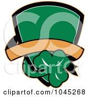 Green Irish St Patricks Day Shield With A Shamrock