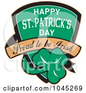 Royalty Free RF Clip Art Illustration Of A Happy St Patricks Day Proud To Be Irish Shield With A Shamrock