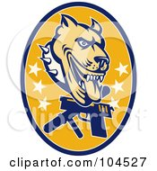 Royalty Free RF Clipart Illustration Of A Guard Dog Pit Bull Logo