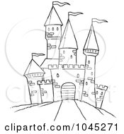 Royalty Free RF Clip Art Illustration Of A Cartoon Black And White Outline Design Of A Path Leading To A Castle