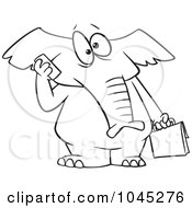 Royalty Free RF Clip Art Illustration Of A Cartoon Black And White Outline Design Of An Elephant Talking On A Cell Phone