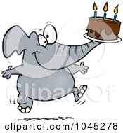 Royalty Free RF Clip Art Illustration Of A Cartoon Birthday Elephant Carrying A Cake by toonaday