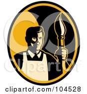 Royalty Free RF Clipart Illustration Of A Male Artist And Paintbrush Logo by patrimonio