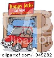 Cartoon Car Driving Through An Auto Wash