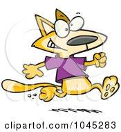 Royalty Free RF Clip Art Illustration Of A Cartoon Cat Running In A T Shirt