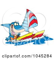 Royalty Free RF Clip Art Illustration Of A Cartoon Shark Sailing A Catamaran by toonaday