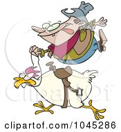Royalty Free RF Clip Art Illustration Of A Cartoon Cowboy Riding A Chicken by Ron Leishman