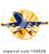 Royalty Free RF Clipart Illustration Of A Plane Over Mountains Logo by patrimonio