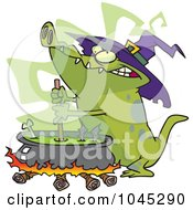 Royalty Free RF Clip Art Illustration Of A Cartoon Witch Alligator Sitring A Cauldron by toonaday