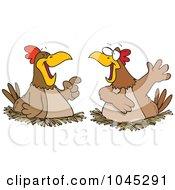 Royalty Free RF Clip Art Illustration Of Cartoon Chatting Chickens