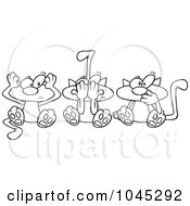 Royalty Free RF Clip Art Illustration Of A Cartoon Black And White Outline Design Of No Evil Cats by toonaday