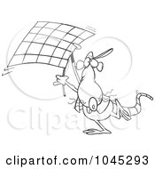 Cartoon Black And White Outline Design Of A Rat Carrying A Checkered Flag