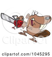 Royalty Free RF Clip Art Illustration Of A Cartoon Beaver Using A Chainsaw by toonaday