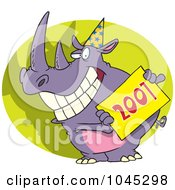 Royalty Free RF Clip Art Illustration Of A Cartoon New Year Rhino Holding A Sign by Ron Leishman