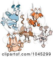 Royalty Free RF Clip Art Illustration Of Cartoon Cats And Dogs Raining Down by toonaday