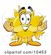 Sun Mascot Cartoon Character With Welcoming Open Arms