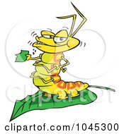 Royalty Free RF Clip Art Illustration Of A Cartoon Caterpillar Munching On A Leaf