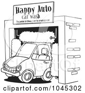 Cartoon Black And White Outline Design Of A Car Driving Through An Auto Wash