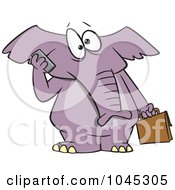 Royalty Free RF Clip Art Illustration Of A Cartoon Elephant Talking On A Cell Phone