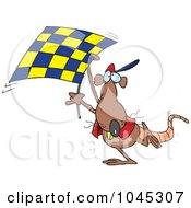Cartoon Rat Carrying A Checkered Flag