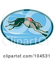 Royalty Free RF Clipart Illustration Of A Running Greyhound Logo by patrimonio