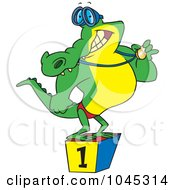 Royalty Free RF Clip Art Illustration Of A Cartoon Champion Alligator Swimmer by toonaday