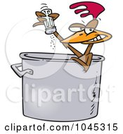 Royalty Free RF Clip Art Illustration Of A Cartoon Chicken Seasoning Himself In A Soup Pot