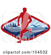 Royalty Free RF Clipart Illustration Of A Red And Blue Cross Country Runner Logo