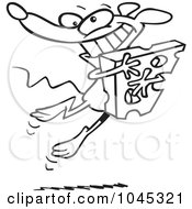 Royalty Free RF Clip Art Illustration Of A Cartoon Black And White Outline Design Of A Happy Mouse Hugging Cheese by toonaday