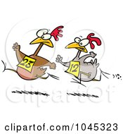 Royalty Free RF Clip Art Illustration Of Cartoon Racing Chickens by toonaday