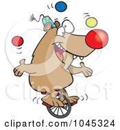 Cartoon Circus Bear Juggling On A Unicycle