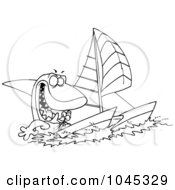 Royalty Free RF Clip Art Illustration Of A Cartoon Black And White Outline Design Of A Shark Sailing A Catamaran by toonaday