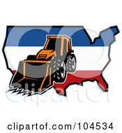 Royalty Free RF Clipart Illustration Of A Bulldozer And American Map Logo
