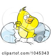 Royalty Free RF Clip Art Illustration Of A Cartoon Victorious Chick By An Egg Shell by toonaday