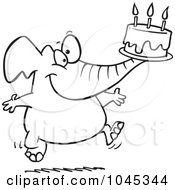 Royalty Free RF Clip Art Illustration Of A Cartoon Black And White Outline Design Of A Birthday Elephant Carrying A Cake