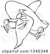 Royalty Free RF Clip Art Illustration Of A Cartoon Black And White Outline Design Of A Mexican Chili Pepper by toonaday
