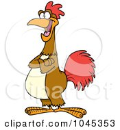 Royalty Free RF Clip Art Illustration Of A Cartoon Happy Rooster by Ron Leishman