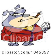 Royalty Free RF Clip Art Illustration Of A Cartoon Bulldog Smoking A Cigar In His Robe