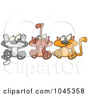 Royalty Free RF Clip Art Illustration Of Cartoon No Evil Cats by toonaday