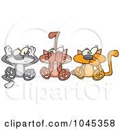 Royalty Free RF Clip Art Illustration Of Cartoon No Evil Cats