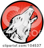 Royalty Free RF Clipart Illustration Of A Howling Wolf Logo by patrimonio