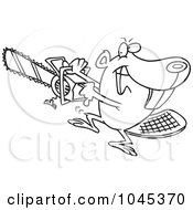 Royalty Free RF Clip Art Illustration Of A Cartoon Black And White Outline Design Of A Beaver Using A Chainsaw by toonaday