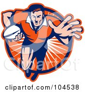 Royalty Free RF Clipart Illustration Of A Blue And Orange Running Rugby Player Logo