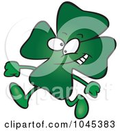 Royalty Free RF Clip Art Illustration Of A Cartoon Walking St Patricks Day Clover by toonaday